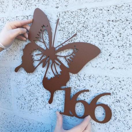 Numéro habitation papillon thermolaqué - 365mm x 335mm